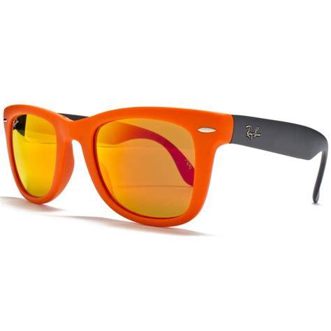 orange glasses ray ban folding wayfarer sunglasses orange grey rb4105