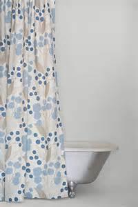 blue linen fabric shower curtain