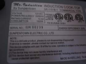 table induction 718 induction cook top warmer table plate model sr 1151b