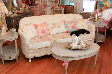 shabby chic sofa slipcovered with vintage chenille