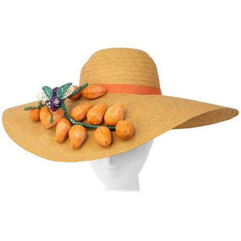 Handmade Straw Hats - 40s straw picture hat embellished with handmade fruit and