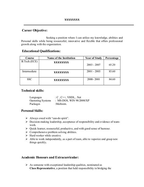best resume sles for ece freshers fresher resume sle17 by babasab patil