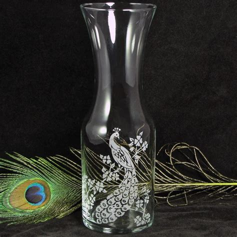 peacock wine carafe vase for decor or unity ceremony for