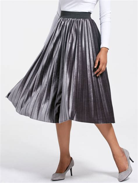 wholesale warehouse high waisted pleated midi skirt gray