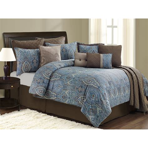 blue bed set blue and brown bed sets