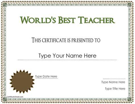 education certificates best teacher award