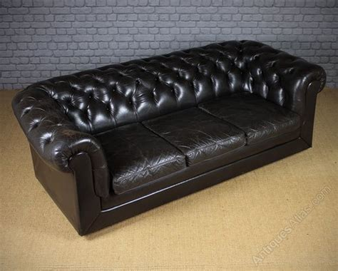 Buoyant Upholstery Nelson by Antiques Atlas Vintage Black Leather Chesterfield Sofa C