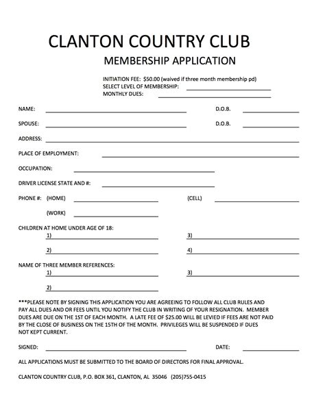 social club membership application form template club info clanton country club