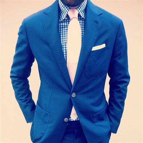blue gingham style tie suit my style
