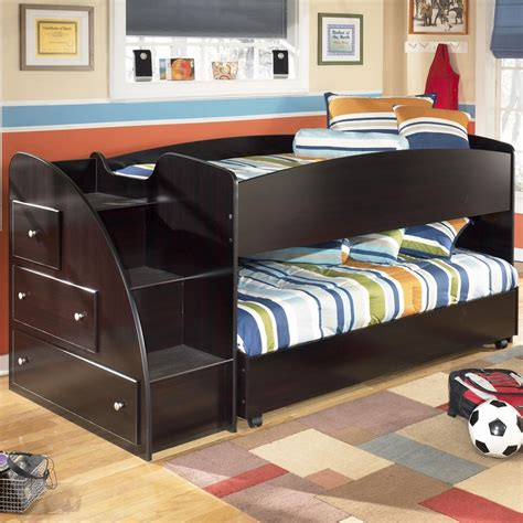 Loft Bunk Bed With Storage Loft Bed With Caster Bed And Left Storage Steps By Signature Design By Wolf And