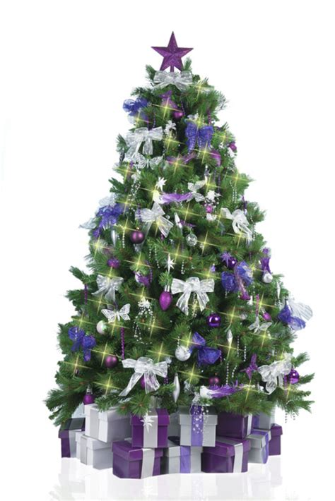 christmas tree with purple silver decorations