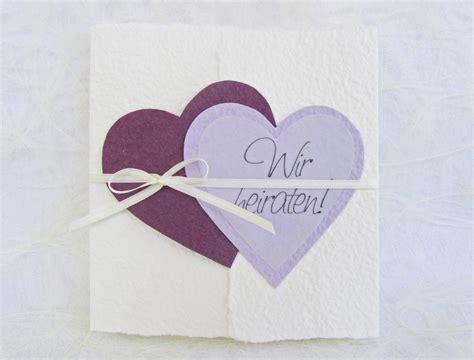 Hochzeitseinladung Lila by Handgesch 246 Pfte Hochzeitseinladung Quot Herzen Quot