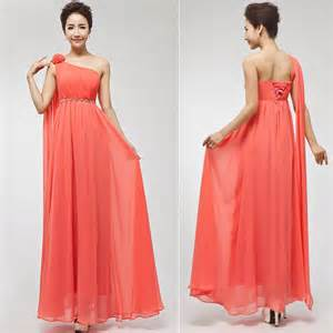 coral color bridesmaid dresses 2014 a line floor length one shoulder coral colored