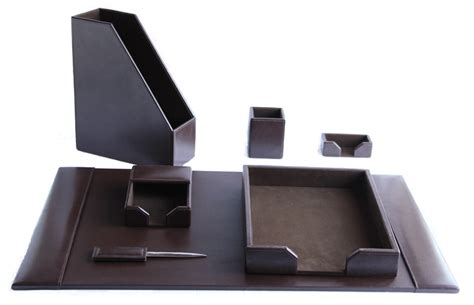 Dark Brown Leather Desk Set Genuine Quality Zale Yardley Leather Desk Accessories Uk