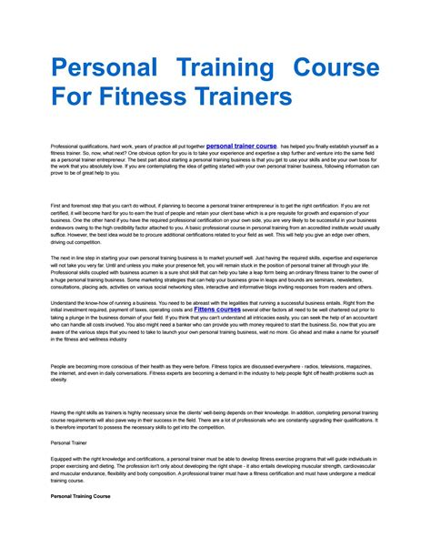 personal course for fitness trainers by personal qualifications issuu