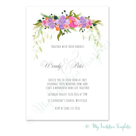 Flower Wedding Invitation Template Floral Wedding Invitation Template