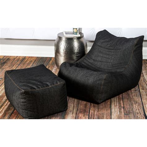 bean bag chair and ottoman denim bean bag chair ottoman jaxx denim touch of modern