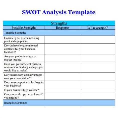 Customer Credit Analysis Template Swot Analysis Templates 14 Documents In Pdf Word