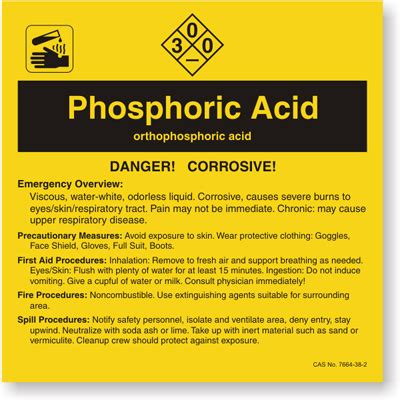 Phosphoric Acid Ansi Chemical Label Sku Lb 1584 106