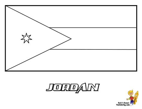 free coloring pages of flag of jordan