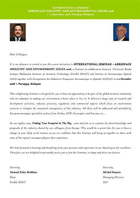 Research Collaboration Invitation Letter Invitation Letter International Seminar December 2008