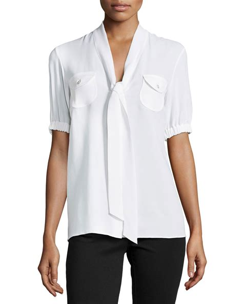 Tie Sleeve V Neck Blouse lyst michael kors tie v neck sleeve blouse in white
