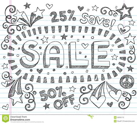 doodle shopping sale shopping discount sketchy doodles vector set stock