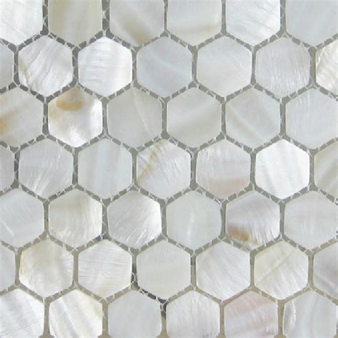 hexagon backsplash tile american hexagon of pearl tiles white mosaic