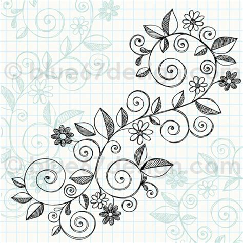 free doodle flower vector sketchy notebook doodle vine with flowers vecto
