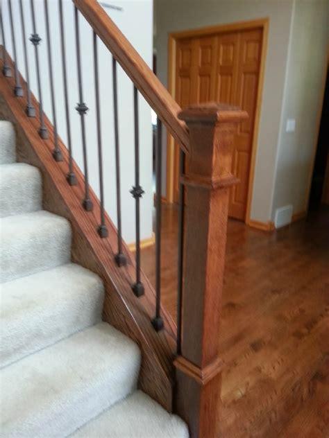 Stair Banister Installation Clean Style Oak And Iron Stairway Mystairways