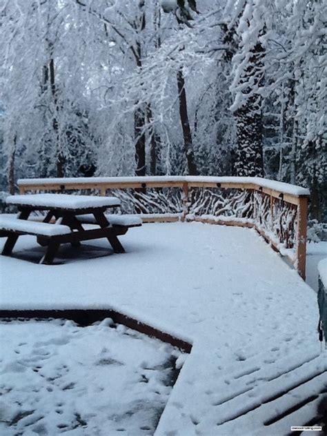 bench snow snow railing bench