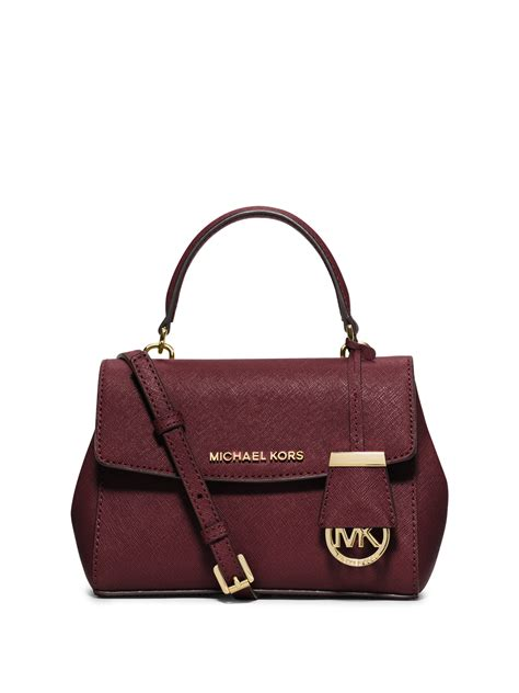 Mk Saffiano Small Satchel 1 lyst michael michael kors small saffiano leather satchel in purple