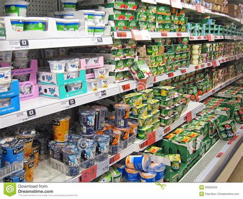 Sainsburys Shelf Stacker by Yogurts On A Store Shelf Editorial Stock Image Image