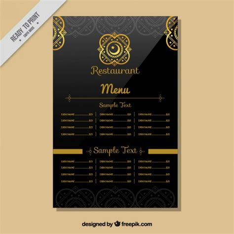 indian restaurant menu template vector free