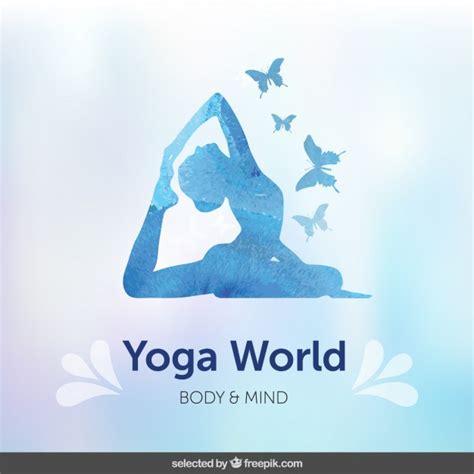 tutorial de yoga gratis fondo con silueta azul de yoga descargar vectores gratis