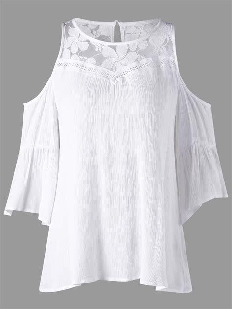 White Lace Shoulder L Xl Shirt 17471 lace panel flowy cold shoulder blouse white xl in blouses dresslily