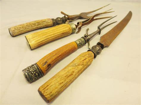 antler handled cutlery mixed lot of vintage antler handled carving set cutlery knif