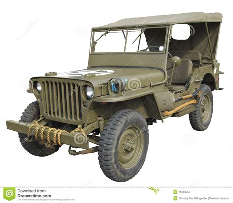 Wwii American Jeep Side View Stock Image Image 11356757