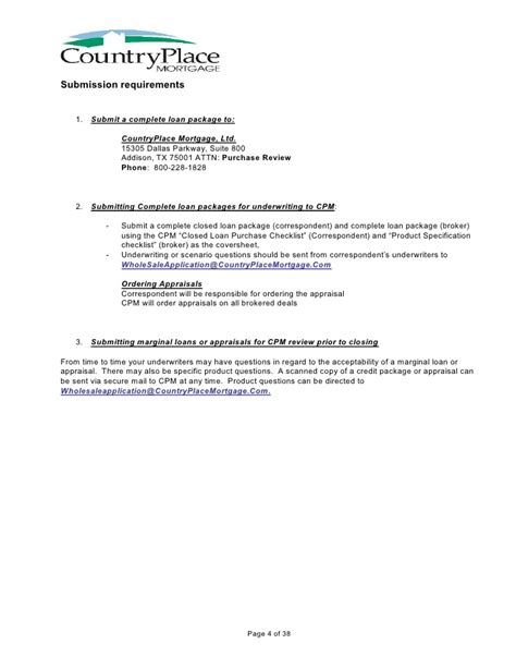 Letter Of Explanation To Mortgage Underwriter Sle Countryplace Mortgage Product Guidelines