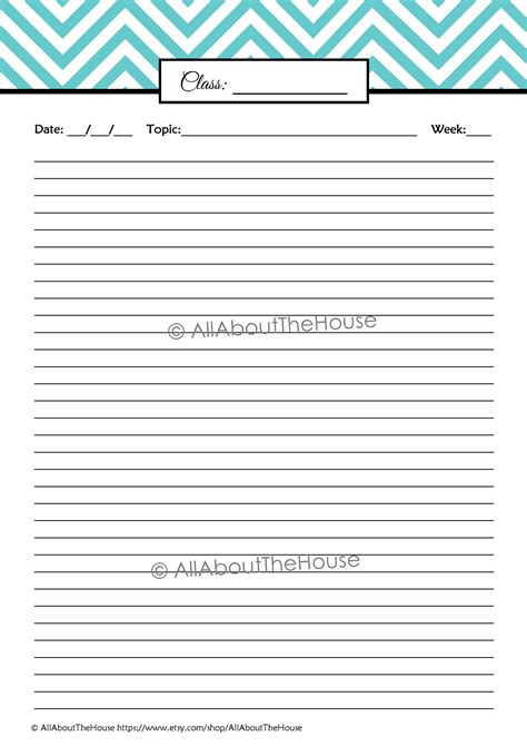 printable paper for notes chevron student planner editable all about planners