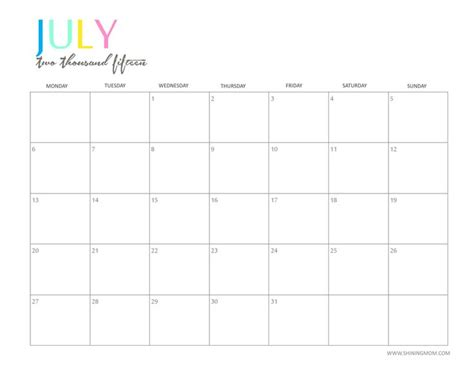 free printable weekly calendar 2015 canada the printable 2015 monthly calendar by shiningmom com is
