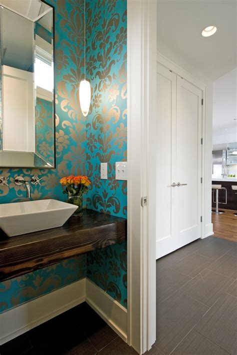 minneapolis turquoise wallpaper designs powder room