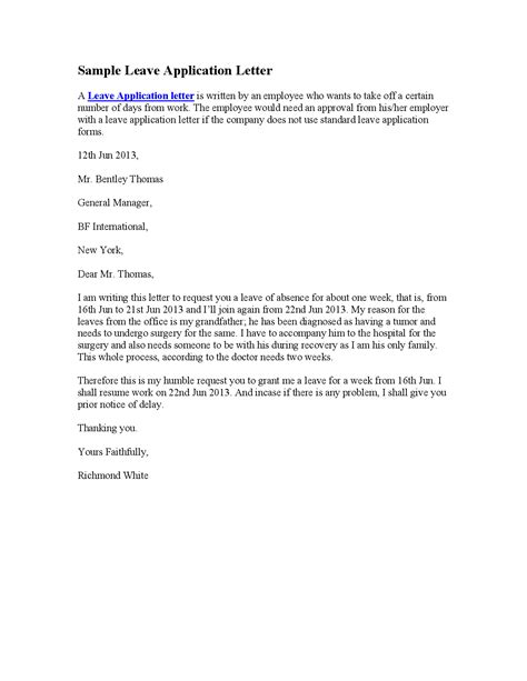 Application Letter Of Leave Personal Leave Letter Format Best Template Collection