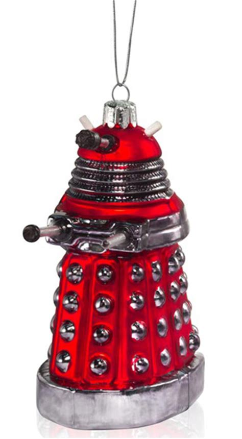 doctor who glass christmas tree ornaments of dalek tardis