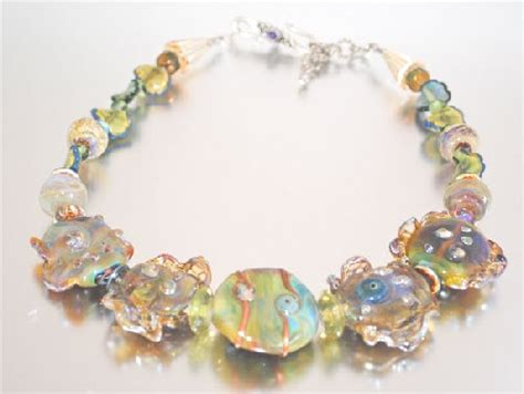 Handmade Glass Beaded Jewelry - ruffled handmade glass bead necklace jewelry journal