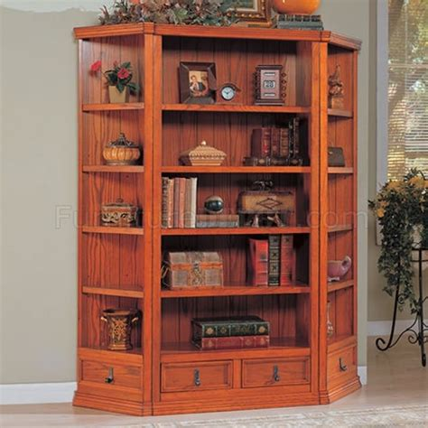 Corner Oak Bookcase Oak Finish Versatile Bookcase W Optional Corner Bookcases