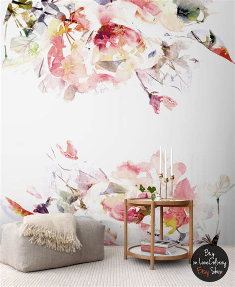 floral removable wallpaper spring floral removable wallpaper watercolor wall mural peel stick 96 85 quot x 96 85
