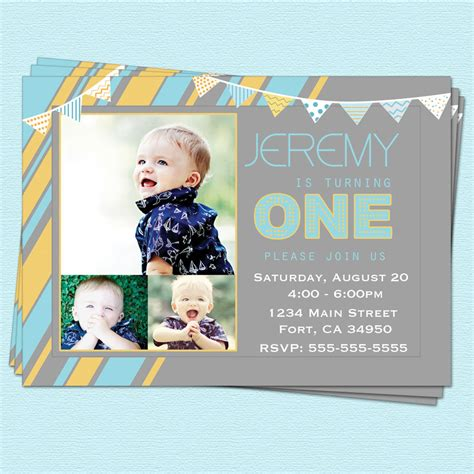 Invitation Letter For 1 Year Birthday 1st Birthday Invitations Boy Modern By Cupcakedream
