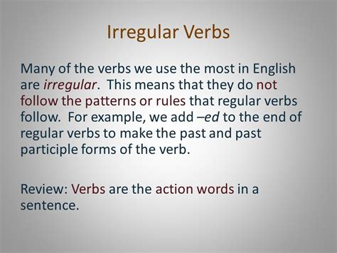 sentence pattern regex irregular verbs present past and past participle ppt