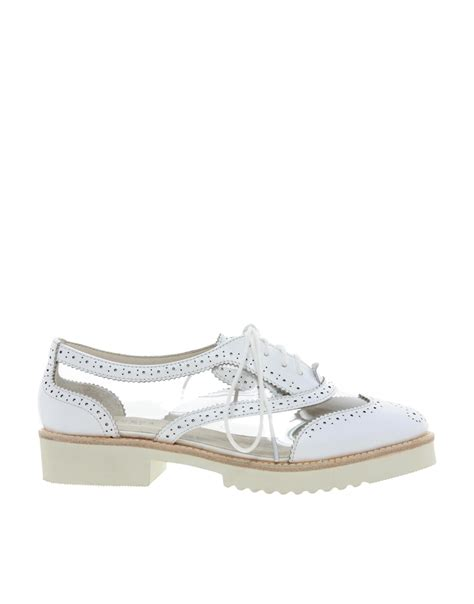 messeca max chunky brogue shoe in white lyst